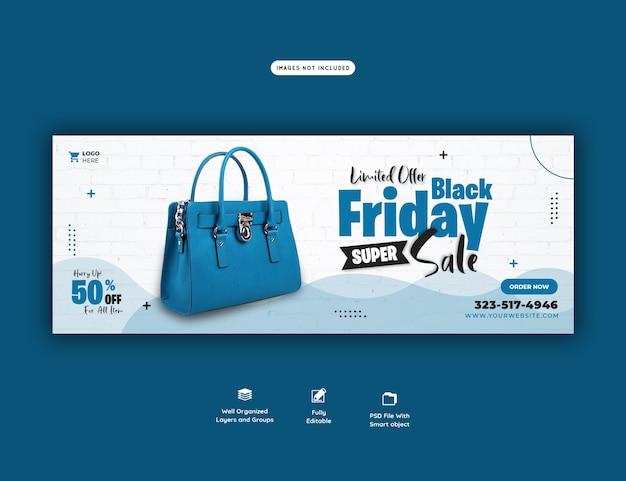 Czarny piątek super sprzedaż szablon transparentu okładki facebooka