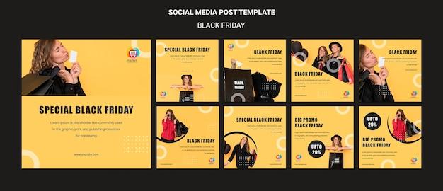 Czarny piątek szablon postu w mediach społecznościowych