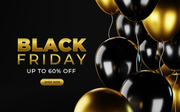 Czarny piątek szablon transparentu sprzedaży z pękiem balonów