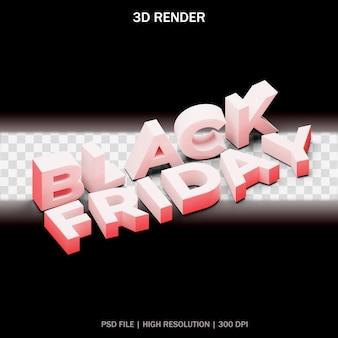 Czarny piątek tekst z przezroczystym tłem w projekcie 3d