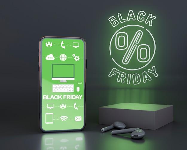 Czarny piątek tło z zielonymi neonów