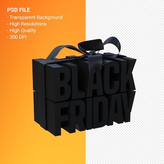 Czarny piątek w pudełku owiniętym czarną wstążką na białym tle