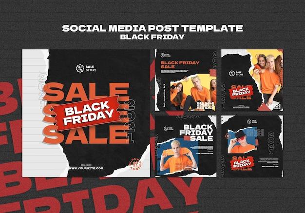 Czarny piątek wyprzedaż post w mediach społecznościowych