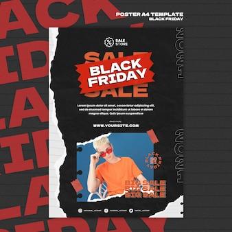 Czarny piątek wyprzedaż szablon plakatu