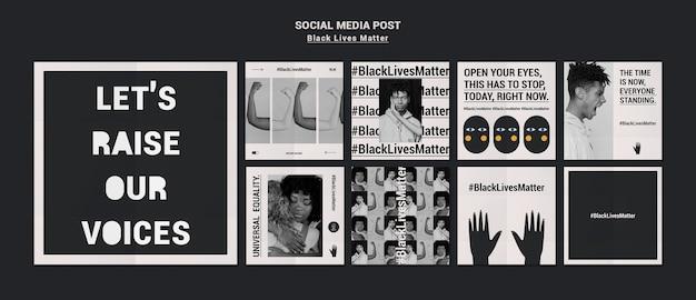 Czarny post żyje szablon postów w mediach społecznościowych