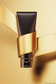 Czarny produkt kosmetyczny ze złotą wstążką. renderowanie 3d