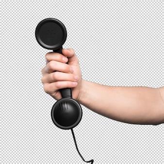 Czarny telefon na białym tle