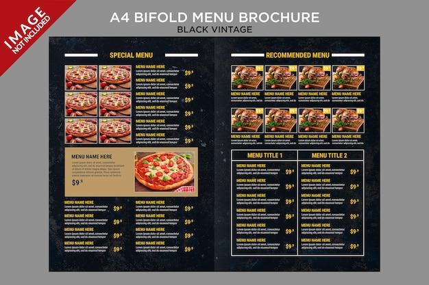 Czarny vintage bifold menu wewnątrz serii szablonów broszur