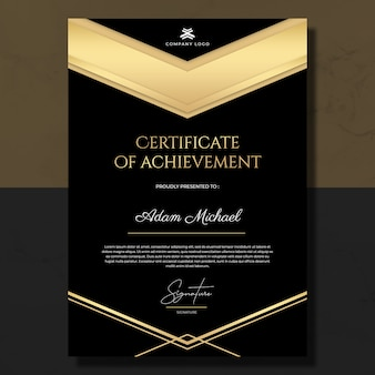 Czarny złoty certyfikat szablonu osiągnięcia