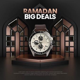 Czarny złoty szablon podium sprzedaży ramadan
