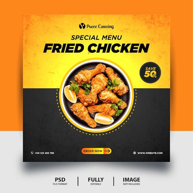 Czarny żółty kolor smażony kurczak social media post banner