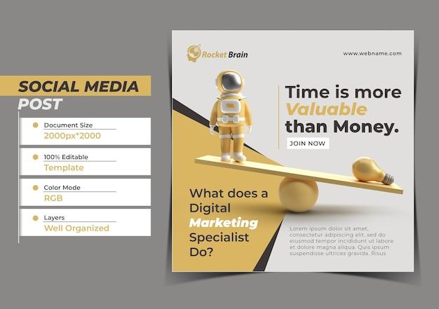 Czas jest bardziej wartościowy cyfrowa koncepcja post na instagram post banner temp