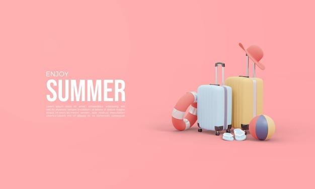 Czas letni renderowania 3d z walizką i piłką