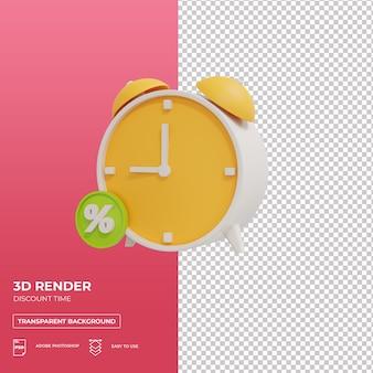 Czas rabatu na zakupy renderowania 3d izolowane premium psd