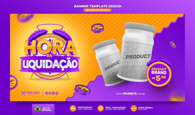 Czas sprzedaży baner 3d render w brazylii szablon projektu w języku portugalskim