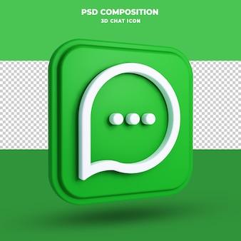 Czat ikona renderowania 3d na białym tle