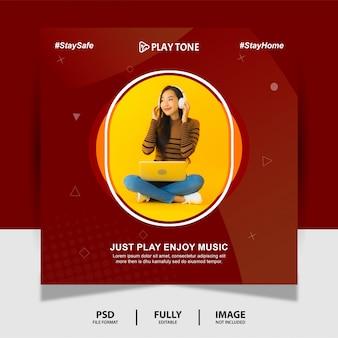 Czekoladowy kolor ciesz się muzyką social media post banner