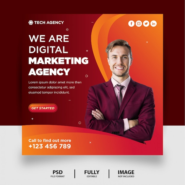 Czekoladowy kolor gradientu marketing cyfrowy media społecznościowe post instagram banner