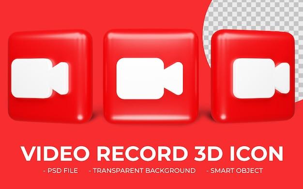 Czerwona ikona nagrywania wideo renderowania 3d na białym tle