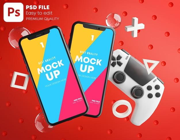 Czerwona makieta smartfona do gamepada
