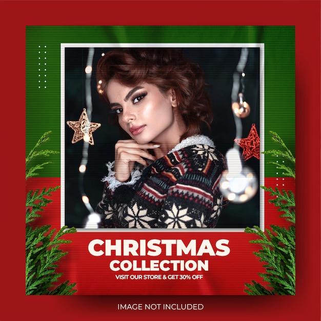 Czerwona moda świąteczna wyprzedaż instagram post feed