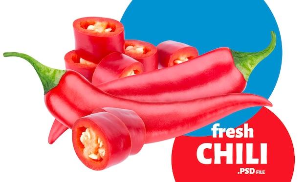 Czerwona papryczka chili transparent na białym tle