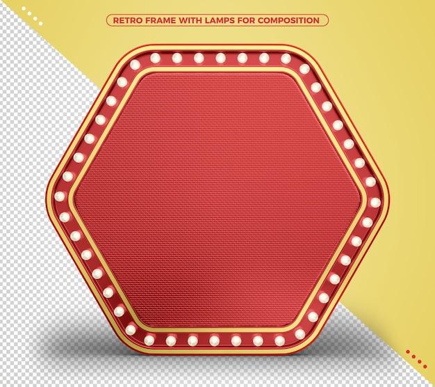 Czerwona rama retro w stylu vintage z diodami led