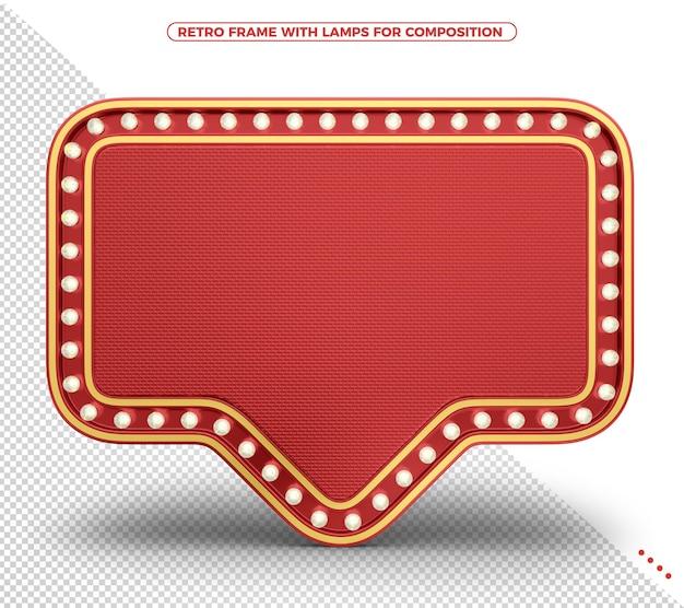 Czerwona ramka światła retro z realistyczną teksturą