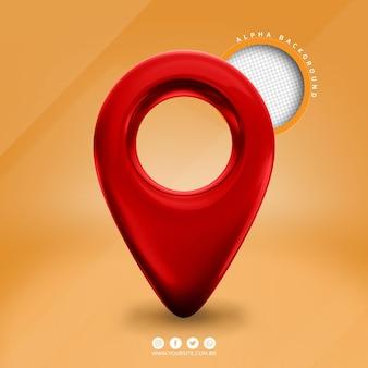 Czerwona realistyczna ikona wskaźnika pin mapy 3d na białym tle premium psd