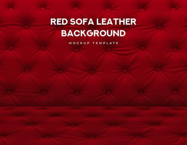 Czerwona sofa klasyczna skórzana kanapa z luksusowym wzorem gałki