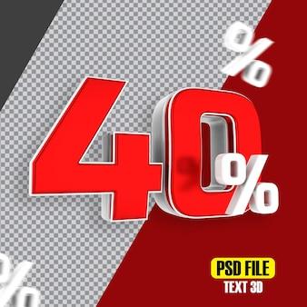 Czerwona wyprzedaż 40 procent rabatu promocyjnego