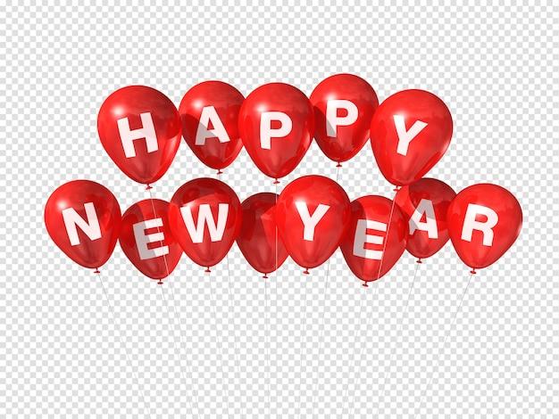 Czerwone balony szczęśliwego nowego roku na białym tle