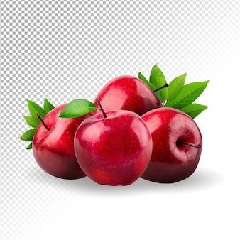 Czerwone jabłko całe kawałki na białym tle