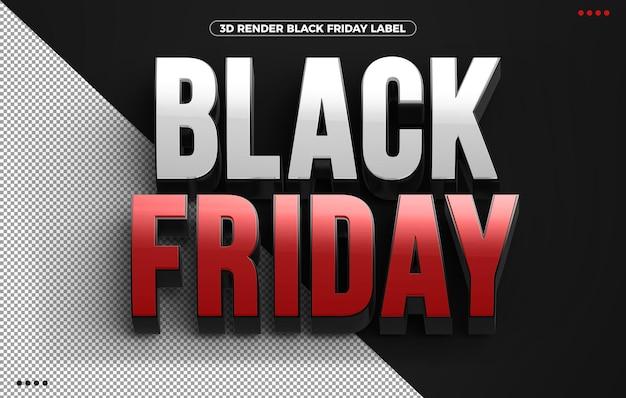 Czerwone logo 3d black friday na białym tle na czarnym tle