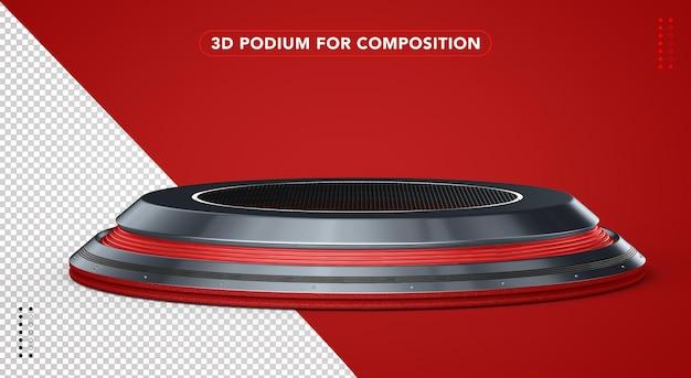 Czerwone realistyczne podium w renderowaniu 3d
