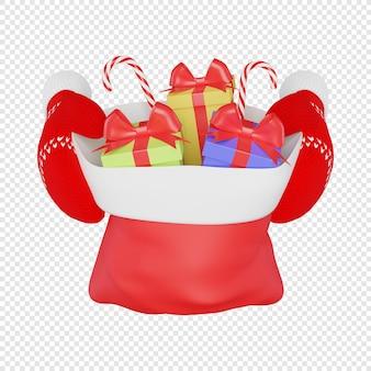 Czerwone rękawiczki z dzianiny trzymające torbę świętego mikołaja z prezentami i słodyczami na białym tle ilustracja 3d