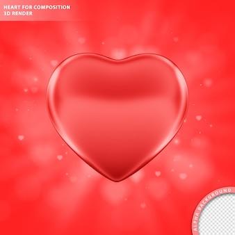 Czerwone serce na skład renderowania 3d