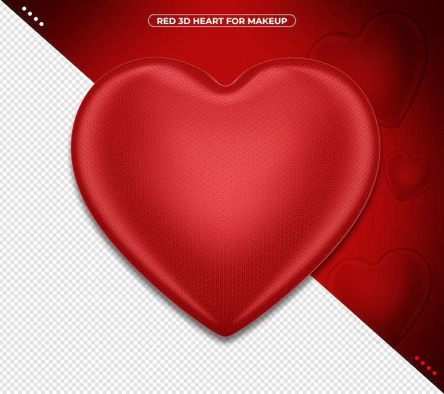 Czerwone serce w renderowaniu 3d na białym tle