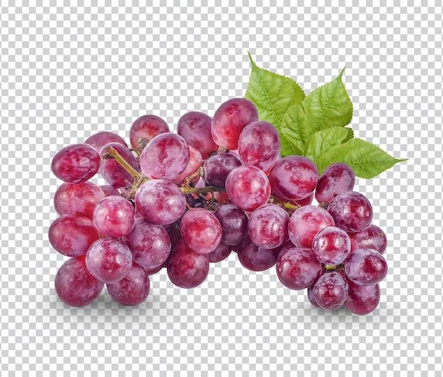 Czerwone winogrona z izolowanymi liśćmi