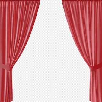 Czerwone zasłony lub okno na białym tle
