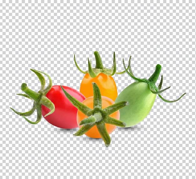 Czerwone, żółte, zielone pomidory na białym tle