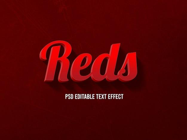 Czerwoni, edytowalny styl efektu tekstu 3d