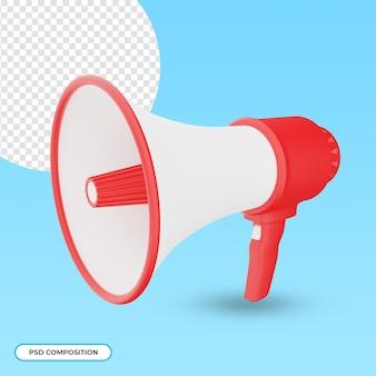 Czerwono-biały megafon 3d