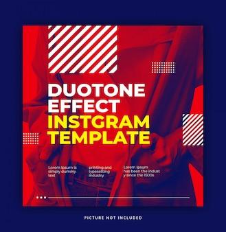Czerwony dynamiczny trendy efekt duotonu z chłodnym elementem szablon banner instagram