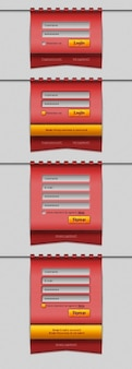 Czerwony formularz logowania projektowania interfejsu