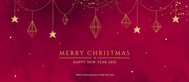 Czerwony i złoty sztandar bożonarodzeniowy z eleganckimi ornamentami