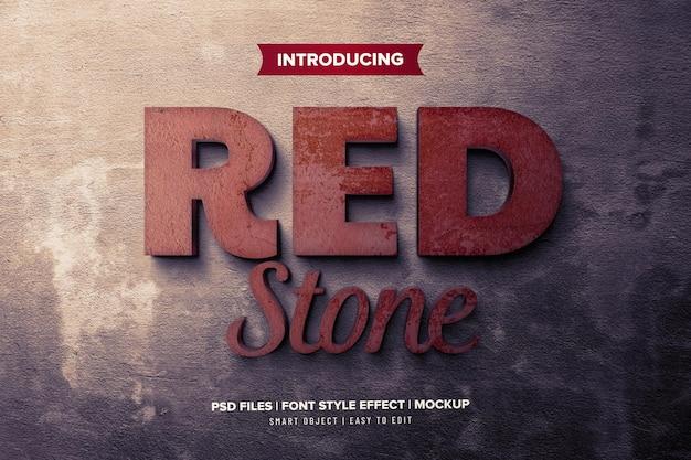 Czerwony kamień szablon efekt czcionki 3d