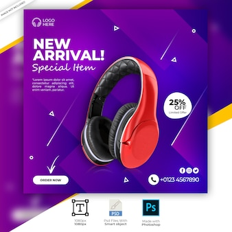 Czerwony kolor słuchawek marki produkt social media banner instagram