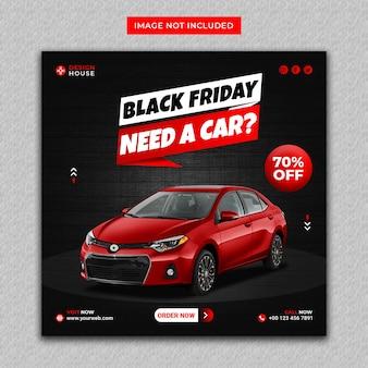 Czerwony kolor wypożyczalnia samochodów w czarny piątek instagram i baner w mediach społecznościowych