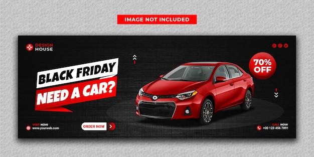 Czerwony kolor wypożyczalnia samochodów w czarny piątek media społecznościowe i szablon okładki na facebooka
